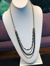 Gorgeous Black And Gold 6 Multi Strand Waterfall Long Bib Statement Necklace