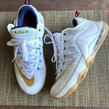 NIKE LEBRON XII Mens 8.5 low USA Gold Olympic White Gum 724557-174 MINT
