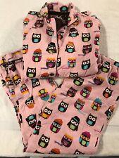 PJ Salvage Pajama Set Medium Flannel Owls w/ Hats & Scarves Cute Pink