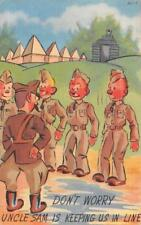 UNCLE SAM KEEPING SOLDIER'S IN LINE COMIC WWII MILITARY POSTCARD 1944