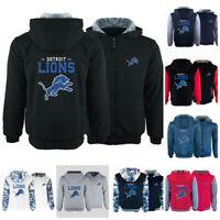 Detroit Lions Football Hoodie Thicken Sweatshirt Winter Warm Fleece Hooded Coat