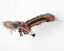 Mobile Hanging Sculptured Brown Eagle Hand Painting wooden Horn Bill Porch