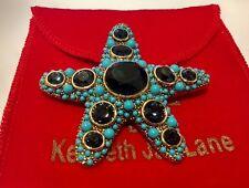 Estate KJL Kenneth Jay Lane Starfish Pin Brooch Blue Stone Turquoise Gold Tone