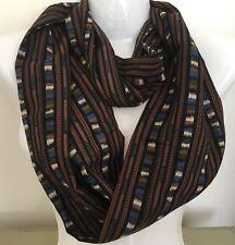 Infinity Scarf Cowl LIBERTY Varuna Wool Silk COLLIER CAMPBELL Stripe Vtg Fabric