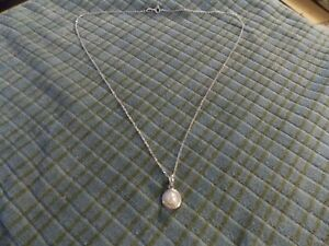 """PLATINUM OVER STERLING SILVER 925 Pearl PENDANT 18"""" Necklace VG !"""