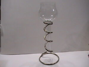 "Metal Floating Votive Candle Holder 12"" tall"