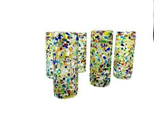 Set of 6 Mexican Hand Blown Glass CONFETTI Textured TEQUILA Shot Glasses Fiesta!