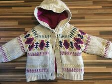 LOVELY BABY GIRLS 6-9MTH FLEECE LINED HOODED CHUNKY KNIT CARDIGAN / TOP NUTMEG