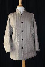 New Eskandar Stone Wool Cashmere Mandarin Quilted Car Coat Jacket Sz 0