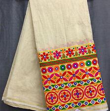 1 meter cream chanderi cotton mix fabric, kutch work. dress fabric