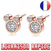 Boucles D'oreilles Bijoux Mickey Minnie Disney Femmes Filles Cristal Mode Rose