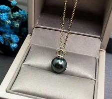 Gorgeous AAA++ 10-11mm real natural Tahitian black round pearl pendant 18k gold