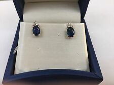 Sapphire and Diamond 14k White Gold Stud Earrings
