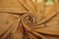 Imitación Seda Vintage Marrón Saree Estampado Mujeres Tradicional Vestido Sari