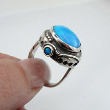 Hadar Jewelry Handcrafted Israel Art 925 Sterling Silver Opal Ring size 8 (H156)