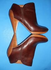Fossil Women's Two Tone Brown Leather High Heel Ankle Boots Booties Size 10 B