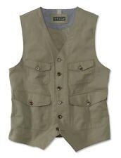 Mens Orvis Patch Pocket Herringbone Olive Green Medium M Cotton Vest New NWT