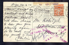 Latvia, 1922, Art card from Riga to NewYork with 3 postmasters signature and can