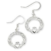 Sterling Silver Celtic Knot Claddagh Earrings