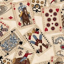 Fabric Western Town Cowboy Poker Cards on Tan Cotton 1 Yard S