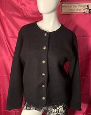 Tally Ho Pollak Import 100% Wool Sweater Women's Medium Black Silver Buttons