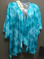 BNWT Womens Sz 18 Autograph Brand Aqua Tie Die Cover Up Stretch Jacket RRP $40