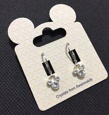 Disney Mickey Mouse Girls Women's Clear Swarovski Crystal Earrings BNWT Lovely