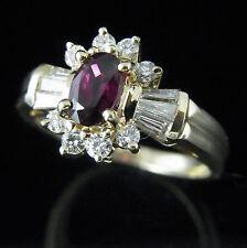 Vintage Ruby Round & Baguette Cut Diamonds 14k Yellow Gold Ring Estate