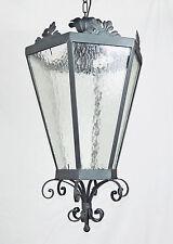 Sospensione lanterna antico in ferro battuto forgiato cristallo rustico art.716
