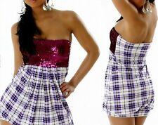 Sexy Miss Bandeau Ballon Long TOP Karo Dress Glamour  Pailletten lila 34/36/38