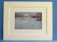 SKATING WINDERMERE CUMBRIA VINTAGE MOUNTED PRINT 1949