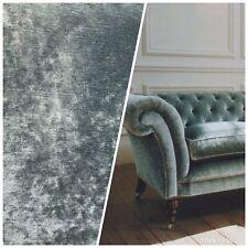 Designer Velvet Upholstery Fabric - Green Grey- By the yard