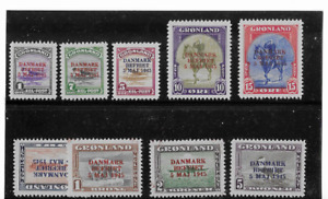 GREENLAND 1945 OVERPRINTS,SCOTT# 19-27 FVF MINT SET