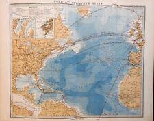 North Atlantic Shipping Lanes British Isles Canada 1875 Stieler detailed map