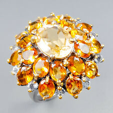 Vintage Natural Citrine 925 Sterling Silver Ring Size 8.5/R121182