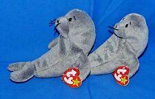 "Ty SLIPPERY Lot of (2) Gray Seal Water Animal (7"") Beanie 1999 Boys Girls 3+ CT"