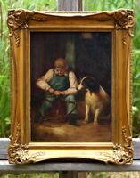 exquisites Ölgemälde Junge mit Zaumzeug und Hund erlesene Künstlerarbeit
