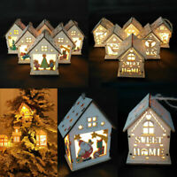 XMAS LED Light Wood House Christmas Tree Hanging Ornaments Holiday Decorations