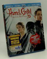 Hansel & Gretel: Witch Hunters 3D (Blu-ray 3D+Blu-ray+DVD+Digital, 2013) w/ Slip