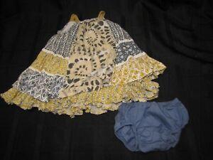 NEXT RUFFLE TIER BABY GIRL DRESS 6-9 MOS GIRAFFE MUSTARD GRAY RUFFLED