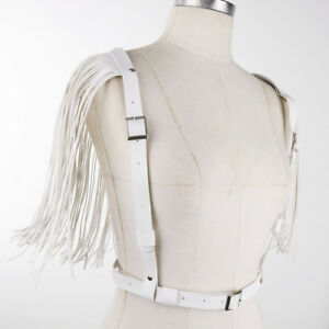 Sexy Women PU Leather Body Chest Bra Harness Adjustable Belt Shoulder Tassel