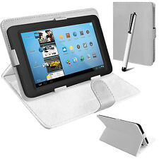 Universal Leather Stand Folding Folio Case Cover Pouch for 7 Inch Tablets Tab Google Nexus 7 2012 White