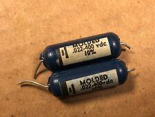 Matched Pair Vintage Blue Molded Ajax .022 uf 400v Guitar Amp Tone Capacitors C