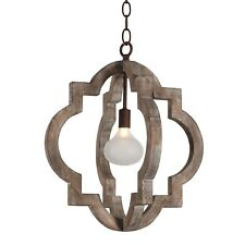 Vintage Retro Iron Wooden Chandelier 1-Light Farmhouse Wood Ceiling Pendant Lamp