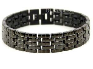 New Sisto-X MENS Jet Black Finish TITANIUM Magnetic BRACELET Brick Design Health