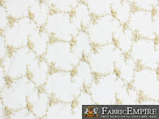 """Mesh Spider Lace Floral Beads Fabric LIGHT GOLD / 52"""" Wide / Sold by the yard"""