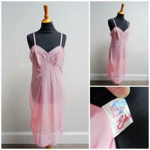 "Vintage Full Slip Petticoat 1960s Universal Pink Nylon Lace Ladies 38"" Bust 60s"