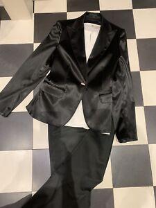 Fabrizio Lenzi Smoking-Blazer schwarz Elegant Damen Gr. DE 36/38 Strassknöpfe