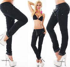 Women's Boyfriend Black Jeans Denim Harem Baggy Pants Zip Buttons Size 6-14 HOT