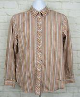 Orvis Women's Size 14 Striped Long Sleeve Button Down Shirt Wrinkle Free EUC